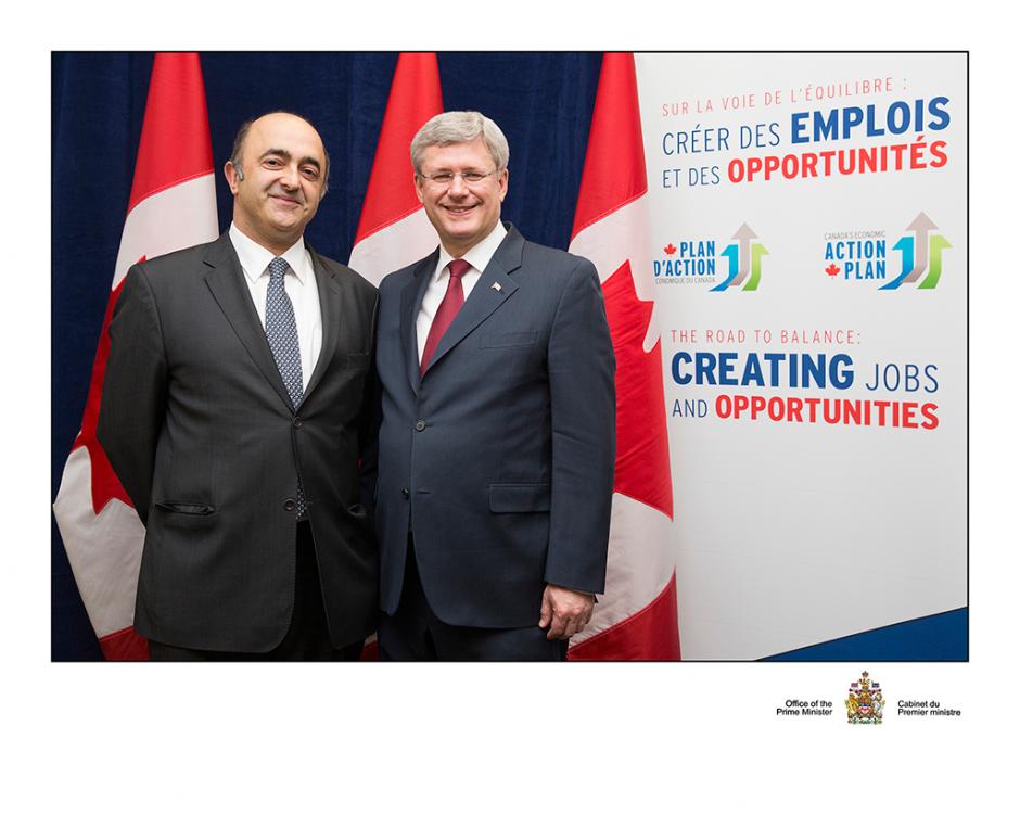 Anoush Poursartip with Prime Minister Stephen Harper in Ottawa for Budget 2014