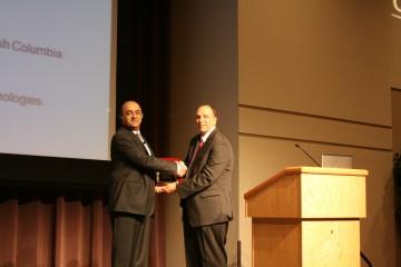 Prof Anoush Poursartip receiving the ASTM International Wayne W. Stinchcomb Award in San Diego, California, USA.